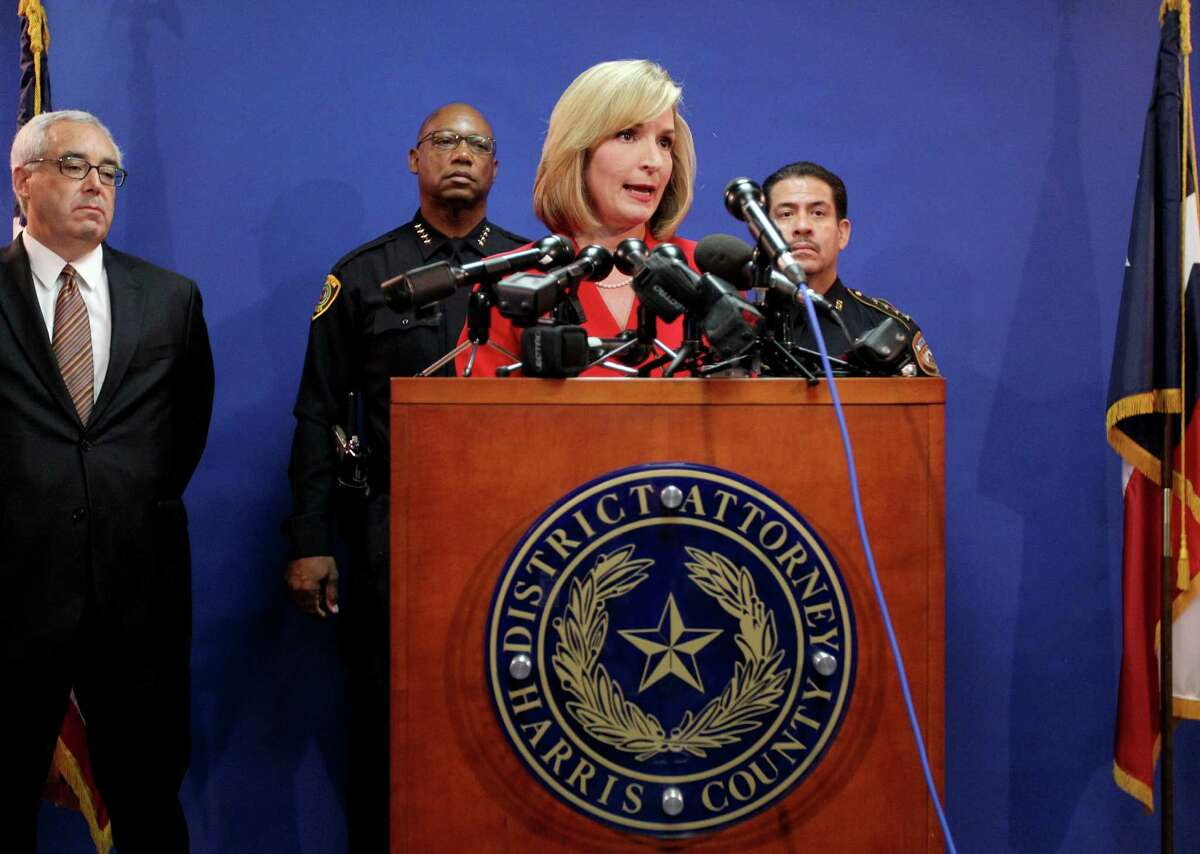 District Attorney Devon Anderson announces the 1st Chance Intervention Program for Class B Marijuana possession arrest during a news conference at the Harris County District Attorney Office on Wednesday.