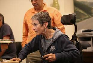 Grace Dammann works at the welcome center at Green Gulch Farm in Mill Valley, Ca., on Wednesday, September 25, 2014. A new feature-length documentary by producers/directors Helen S. Cohen and her husband Mark Lipman about Dr. Grace Dammann and her recovery following a near-fatal head-on collision on the Golden Gate Bridge will debut at the Mill Valley film festival.