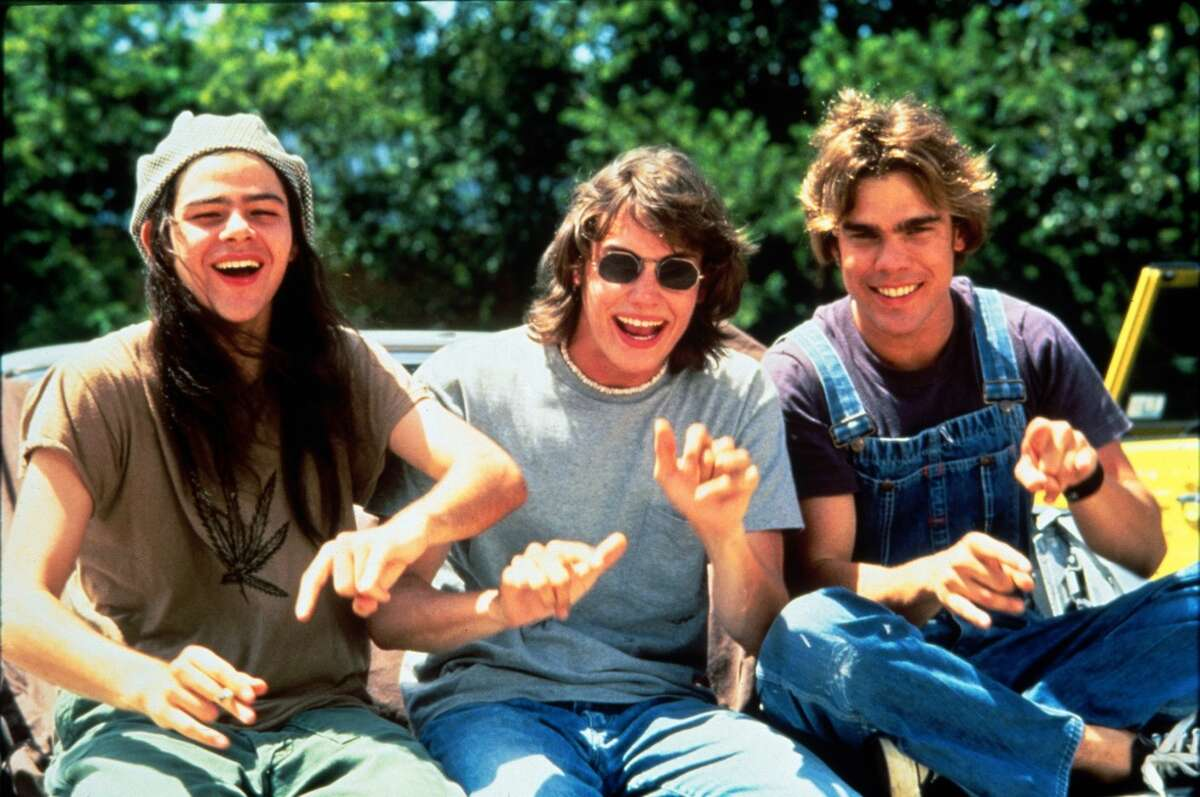 Rory Cochrane (Ron Slater) as hear no evil, Jason London (Randall 'Pink' Floyd) as speak no evil and Sasha Jenson (Don Dawson) as see no evil in a scene from 'Dazed And Confused.'