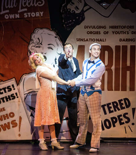 "Taylor Beyer stars as Mary, Dylan Godwin, center, as The Lecturer and Sean McGee as Jimmy in Theatre Under The Stars' ""Reefer Madness."" Photo: Christian Brown / ONLINE_YES"