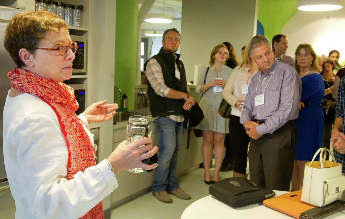 Katherine Kern of Comradity speaks during the Creativity in the Workplace program at Comradity's Stamford office on Wednesday, October 1, 2014.