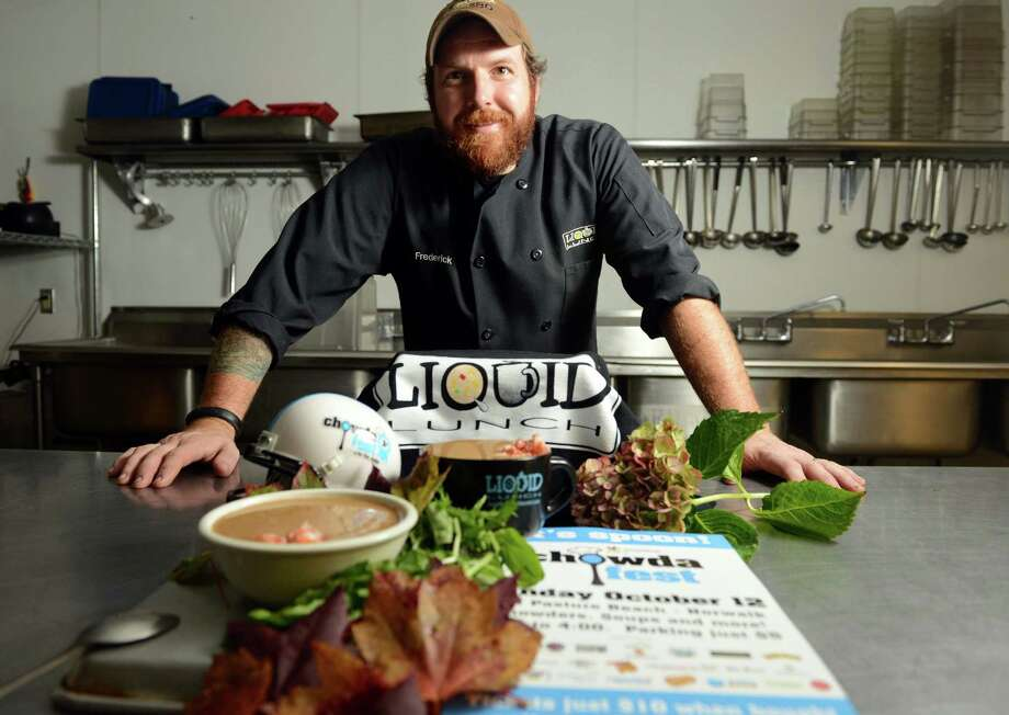 Chef Fred Bialek, of Liquid Lunch, is gearing up for Chowdafest. Bialek is entered in two categories at the annual culinary competition taking place at Calf Pasture Beach in Norwalk Sunday, October 12, 2014. The event benefits Community Plates, which aims to bring unused fresh foods from restaurants and other food industry sources to food-insecure families throughout the U.S. Photo: Autumn Driscoll / Connecticut Post