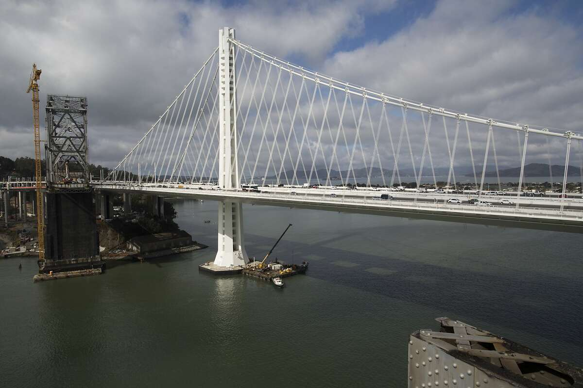 The edge of the old Bay Bridge is seen on Thursday, September 25, 2014.