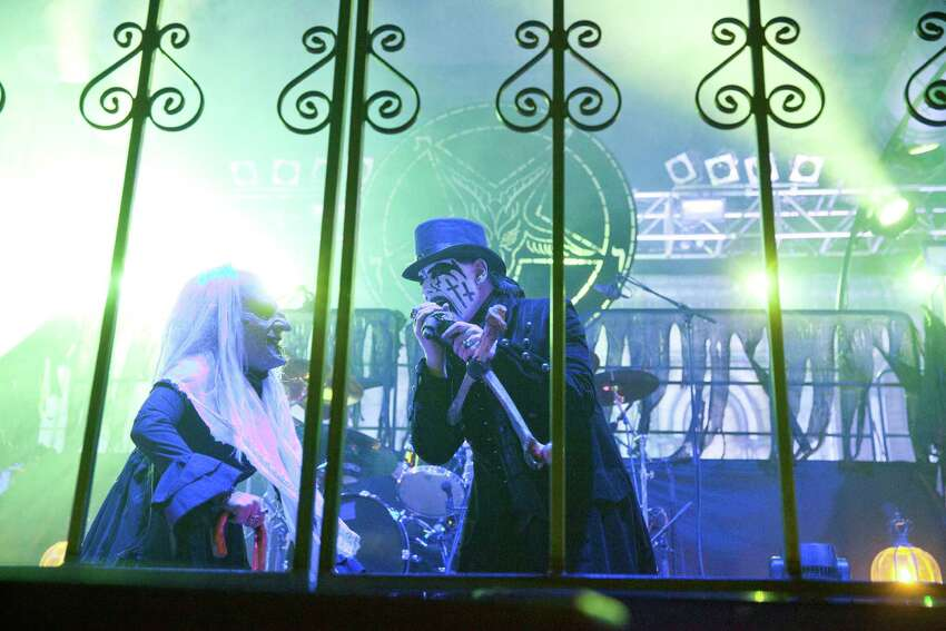 Danish singer King Diamond performs live during a concert at the Huxleys on July 28, 2014 in Berlin, Germany.