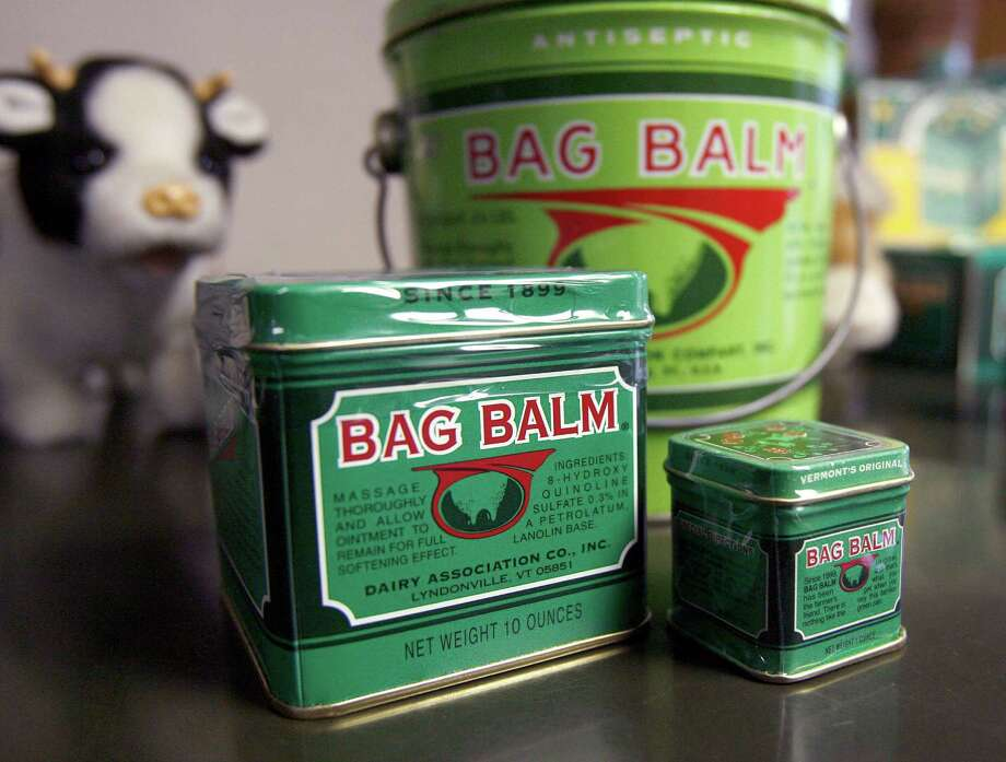 FILE - In this Jan. 27, 2010 photo, Bag Balm products sit clustered at the company's headquarters in Lyndonville, Vt. The 115-year-old family business was sold in September 2014 to a group of investors who are promising to expand the brand, but not change the formula. Bag Balm began as a staple for dairy farmers treating the inflamed udders of cows, but over the generations, the salve has been used for everything from sunburns to the paws of dogs searching the World Trade Center's rubble after 9/11. (AP Photo/Toby Talbot, File) ORG XMIT: BX103 Photo: Toby Talbot / AP