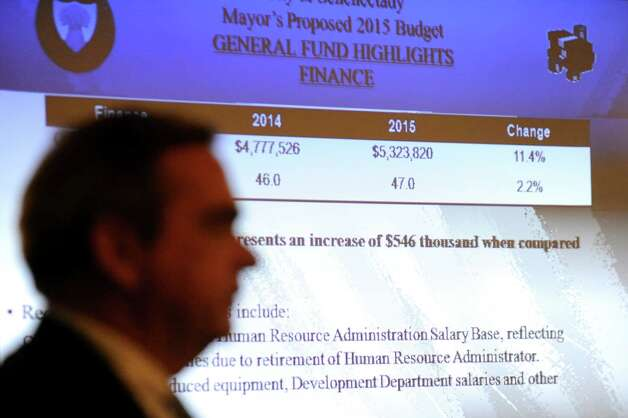 Mayor Gary McCarthy delivers his 2015 budget presentation on Wednesday, Oct. 1, 2014, at City Hall in Schenectady, N.Y. (Cindy Schultz / Times Union) Photo: Cindy Schultz / 00028841A