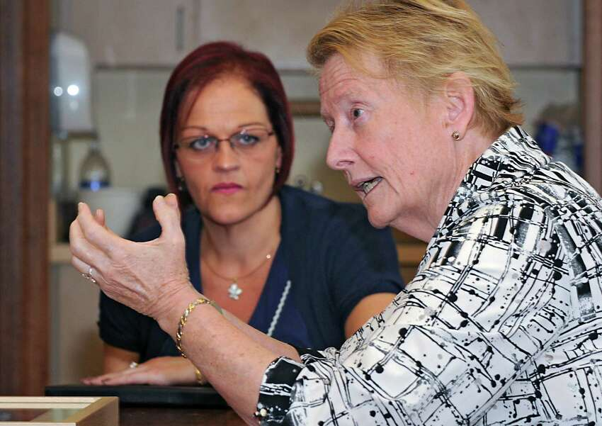 Lagan College vice principal Jayne Atkinson listens to Doane Stuart School's Pam Clarke, head of school, on Wednesday, Oct. 1, 2014 in Rensselaer, N.Y. Leaders of the school in Northern Ireland have made historic inroads in bringing together Catholic and Protestant students and Lagan & Doane Stuart has had a cultural exchange for years. (Lori Van Buren / Times Union)