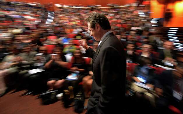 Governor Andrew Cuomo makes his entrance before he spoke at the MWBE Forum Wednesday morning Oct. 1, 2014 in Albany, N.Y.      (Skip Dickstein/Times Union) Photo: SKIP DICKSTEIN / 00028850A