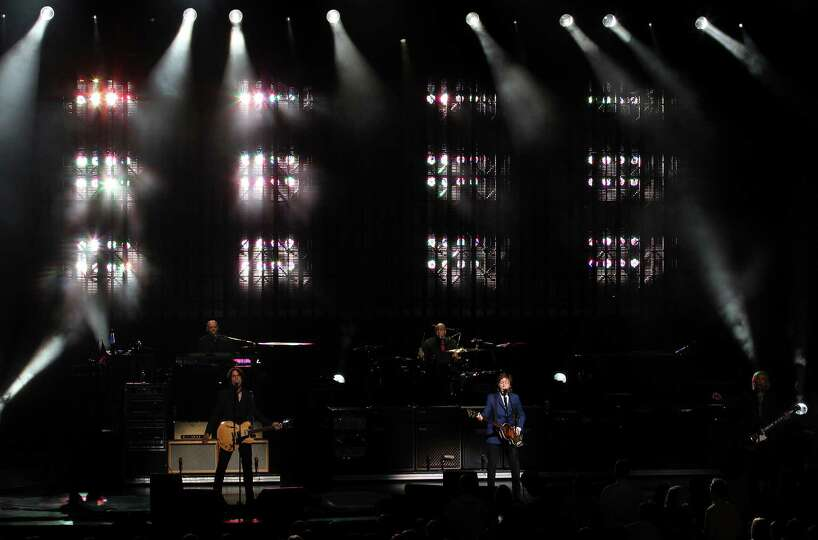 Rock icon Sir Paul McCartney performs at the Tobin Center on Wednesday, Oct. 1, 2014.