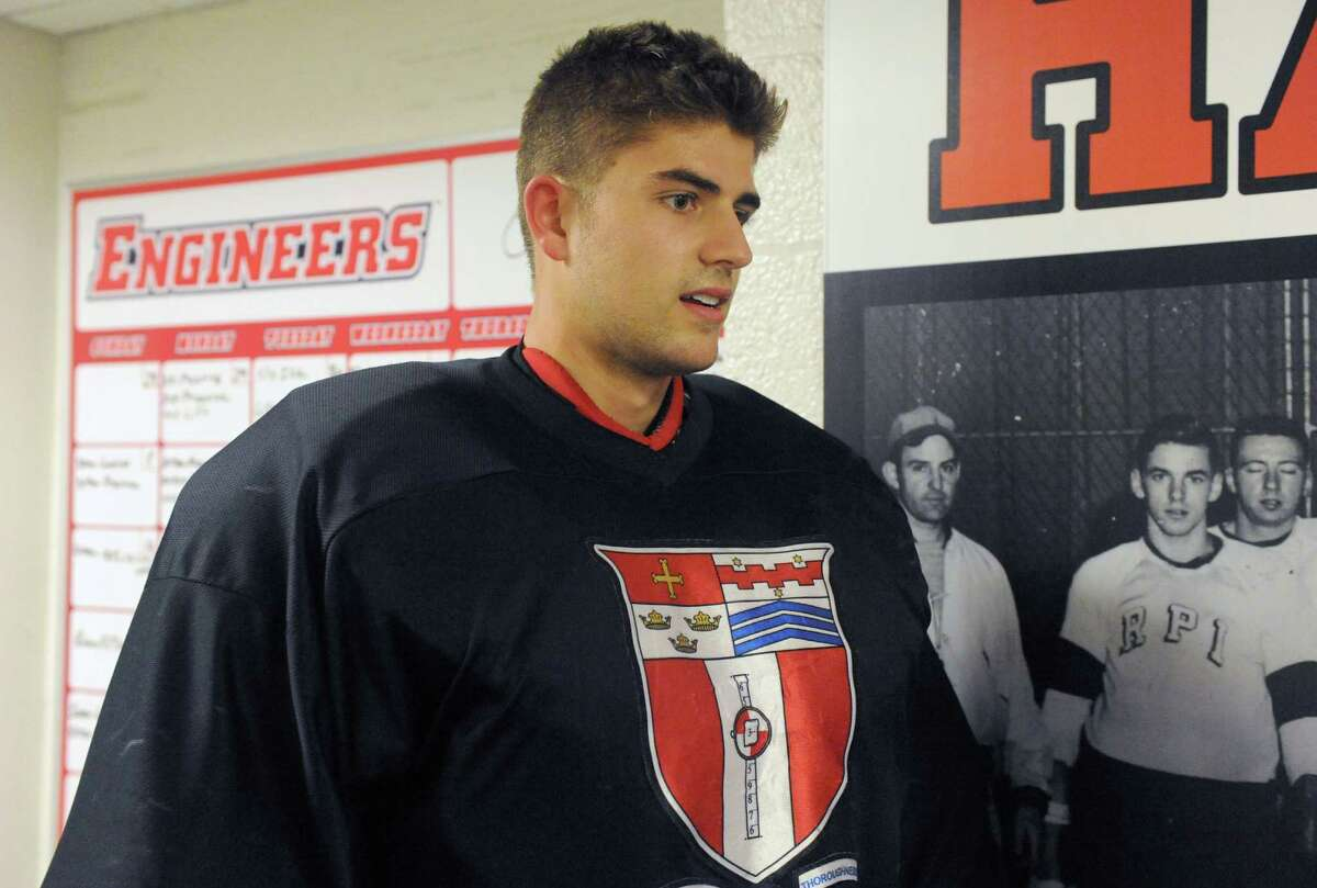 RPI hockey goalie Jason Kasdorf on Wednesday Oct.1 , 2014 in Troy, N.Y. (Michael P. Farrell/Times Union)