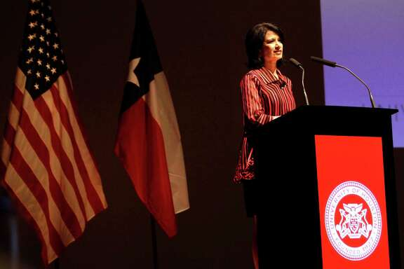 Renu Khator, president of the University of Houston, speaks during the annual State of the University at the University of Houston's Moores Opera House Wednesday, Oct. 1, 2014, in Houston.
