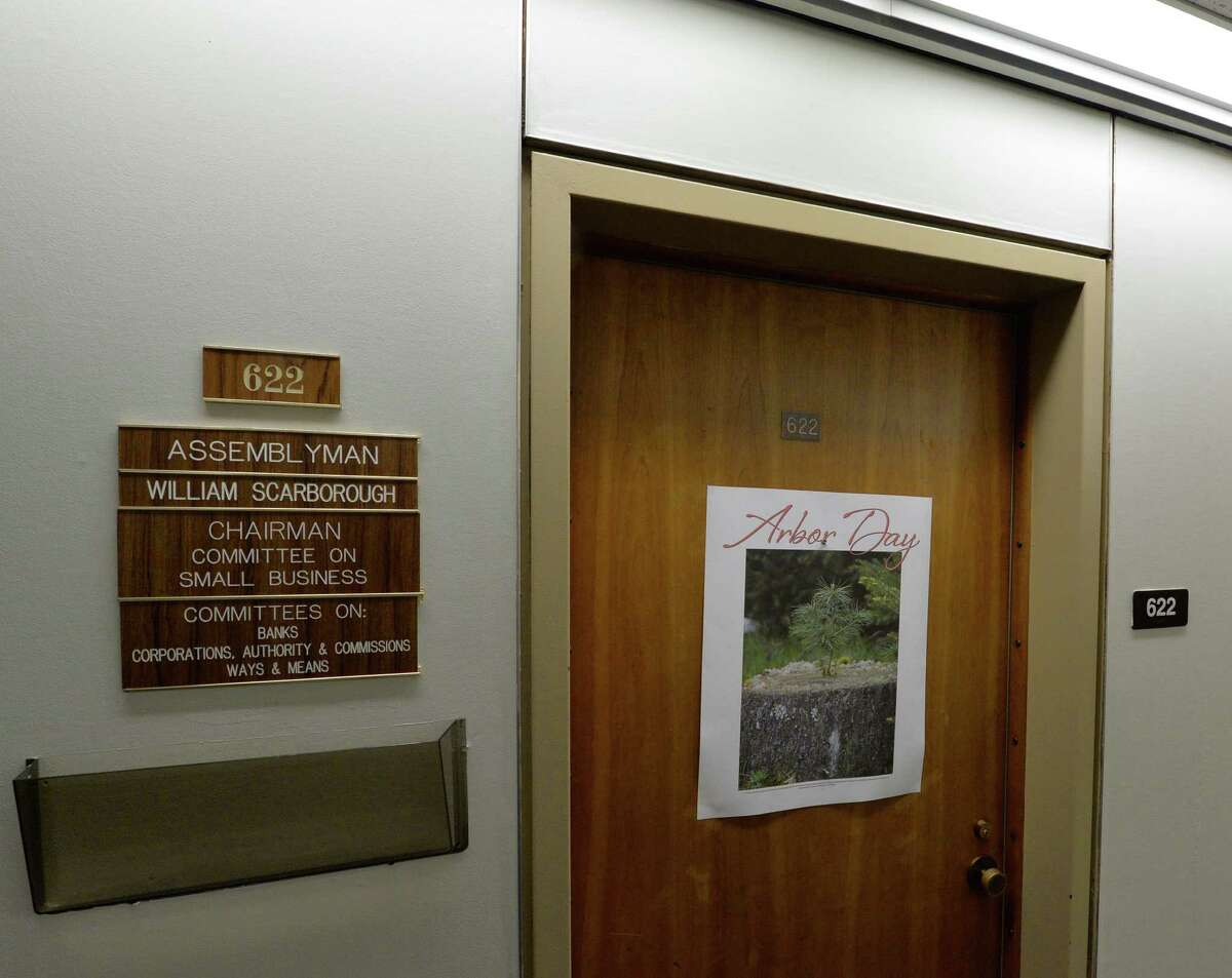 Assemblyman William Scarborough's office is locked up in the Legislative Office Building Wednesday afternoon Oct. 1, 2014 in Albany, N.Y. (Skip Dickstein/Times Union)