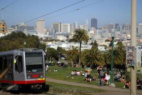 The J - Church       This train stops near fun neighborhoods like the Mission and Noe Valley, but the main reason to take it is for the gorgeous view from the southwest corner of Dolores Park.