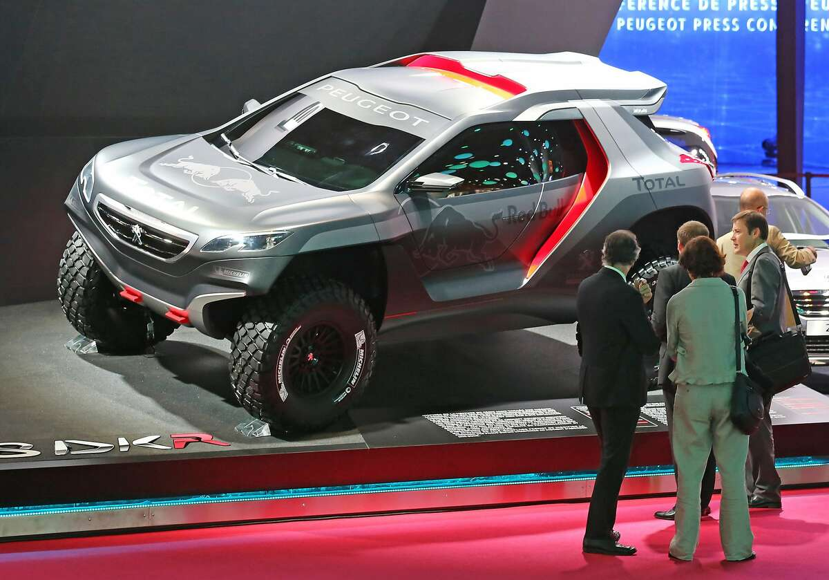 The Peugeot 2008 DKA is presented at the Paris Motor Show.