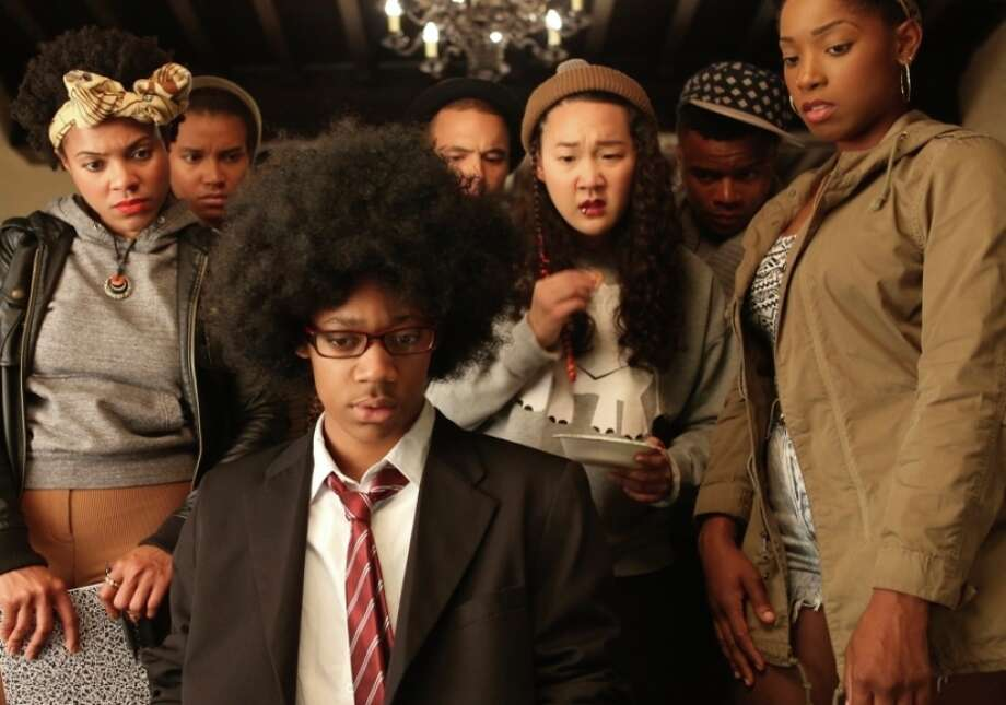 "Tyler James Williams, foreground, in ""Dear White People."" Photo: Roadside Attractions / Roadside Attractions / ONLINE_YES"