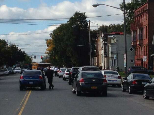 A house at 527 Clinton Ave., Albany, is surrounded by police. (Skip Dickstein/Times Union)