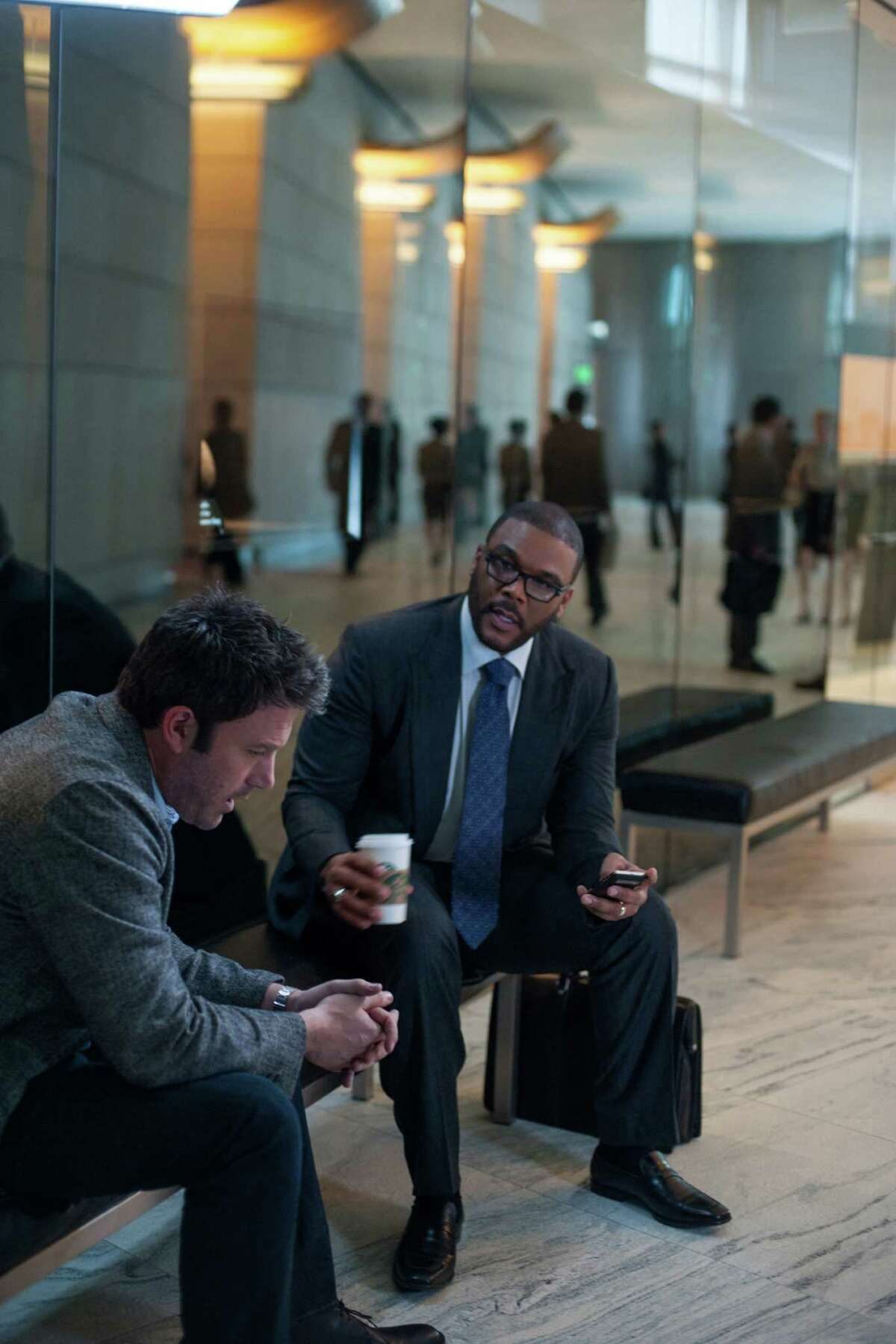 """Ben Affleck, left, and Tyler Perry star in """"Gone Girl."""""""