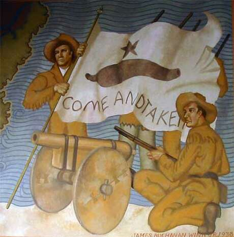 "A museum mural in Gonzales, Texas depicts the Texas rebels who defended their cannon at the Battle of Gonzales with their infamous ""Come and Take It"" flag. Photo: Houston Chronicle"