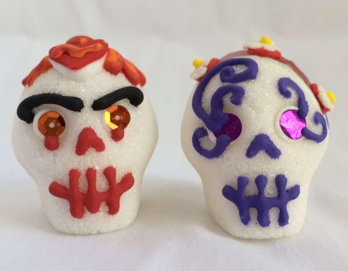 Decorated sugar skulls from The Sugar Skull Gallery