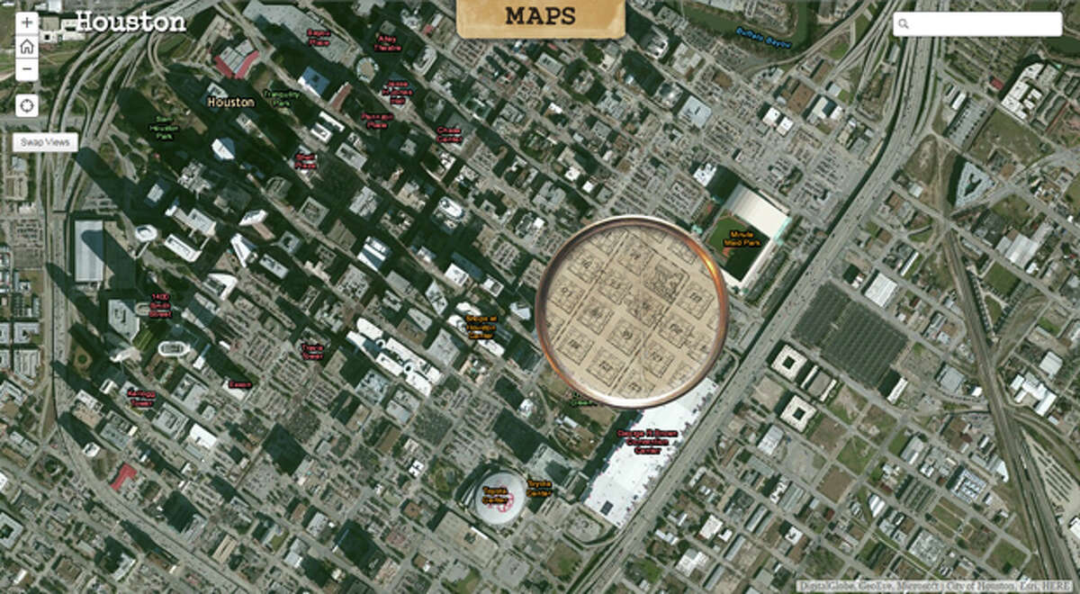 An interactive map by the Texas General Land Office overlays a map of Houston now with a map of Houston in 1900.