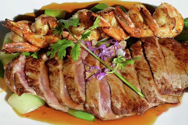 Steak and shrimp teriyaki at Samurai Japanese Restaurant on Wolf Road Friday Sept. 26, 2014, in Colonie, NY.  (John Carl D'Annibale / Times Union) Photo: John Carl D'Annibale / 00028772A