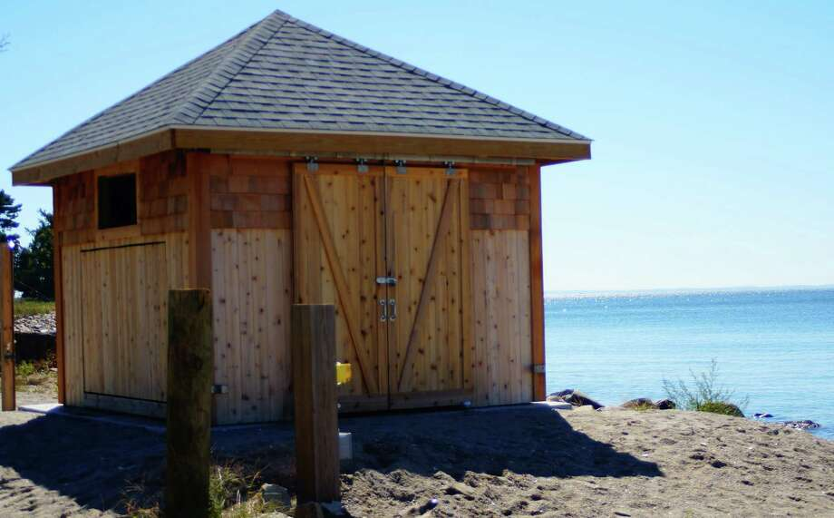 The town has made progress on a list of 24 repairs needed along the shoreline thanks to Superstorm Sandy. This is the new lifeguard shack at Sasco Beach. Photo: Genevieve Reilly / Fairfield Citizen