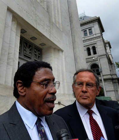 Assemblyman William Scarborough speaks to the media under the supervision of his attorney E. Stewart Jones, right, after his appearance in Federal Court Wednesday afternoon Oct. 1, 2014 in Albany, N.Y.      (Skip Dickstein/Times Union) Photo: SKIP DICKSTEIN, ALBANY TIMES UNION / 00028856A