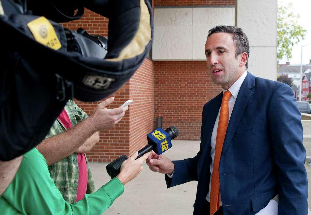 Mark Sherman, Attorney For Stamford High School Principal Donna Valentine,  Speaks Outside The Stamford