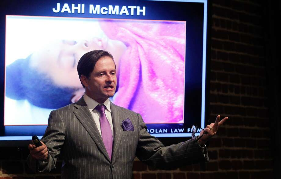 Attorney Chris Dolan holds a news conference where he showed evidence that he says demonstrates that Jahi McMath is not brain dead in San Francisco on Thursday, Oct. 3, 2014. Photo: Mathew Sumner, Special To The Chronicle