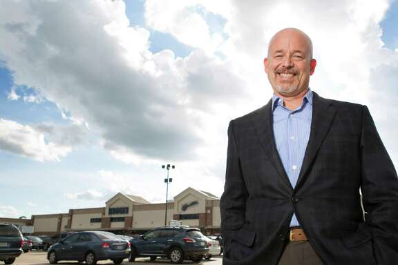 Mike Axelrad, senior vice president of leasing and redevelopment of Brixmor Property Group, stands in front of Kroger along 11th Street and Shepherd Drives, Wednesday, Oct. 1, 2014, in Houston.  (Cody Duty / Houston Chronicle)