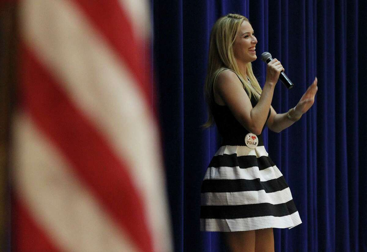 2006 Miss USA winner Tara Conner addresses students at Saint Mary's Hall about her life dealing with substance abuse on Thursday, Oct. 2, 2014. About 400 high school students listened as Conner talked about her challenges growing up, being crowned Miss USA and coming to terms with her drug and alcohol abuse. Her appearance was sponsored by Rise Recovery.