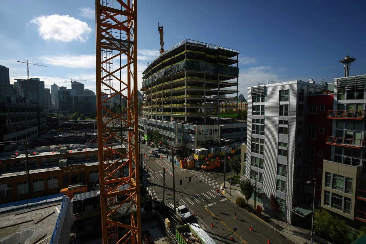 Another building under construction in South Lake Union is shown from a floor in Vulcan's Block 45 Project.