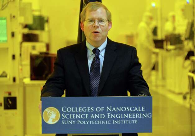 Senior vice president and CEO at SUNY Polytechnic Institute Robert Geer speaks during a signing ceremony with the National Institute for Occupational Safety and Health outside the Lam Research clean room at  the Colleges of Nanoscale Science and Engineering Thursday Oct. 2, 2014, in Albany, NY.   (John Carl D'Annibale / Times Union) Photo: John Carl D'Annibale / 00028859A