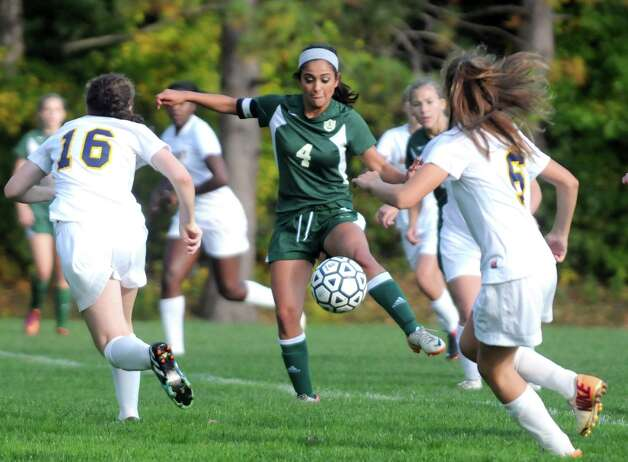 Schalmont's Bianca Mascitelli, center, moves the ball up the field during their high school soccer game against Albany Academy on Thursday Oct.2 , 2014 in Albany, N.Y.  (Michael P. Farrell/Times Union) Photo: Michael P. Farrell / 10028820A