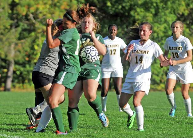 Schalmont and Albany Accademy battle in front of the Accademy goal during their high school soccer game against on Thursday Oct. 2, 2014 in Albany, N.Y.  (Michael P. Farrell/Times Union) Photo: Michael P. Farrell / 10028820A