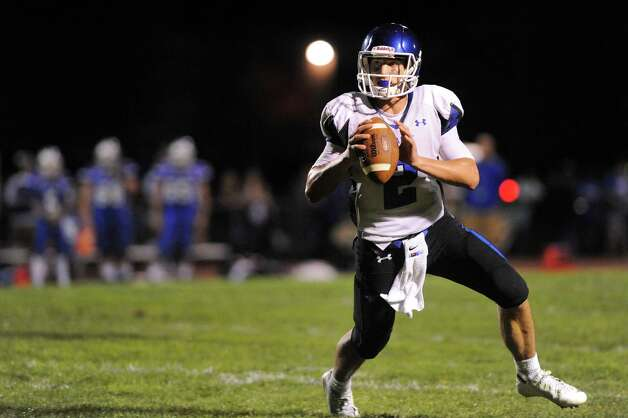 La Salle's quarterback Joe Germinerio looks to pass during their football game against Shaker on Thursday, Oct. 2, 2014, at Shaker High in Latham, N.Y. (Cindy Schultz / Times Union) Photo: Cindy Schultz / 00028778A