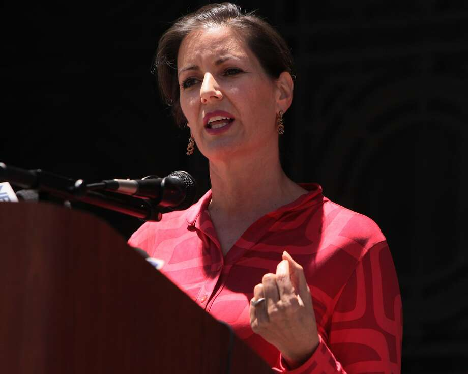 Oakland city council members Libby Schaaf and Noel Gallo unveiled a plan to get the Oakland Police Department back to full staff on the steps of Oakland City Hall on Tuesday, May 27, 2014 in Oakland, Calif. Photo: Kevin N. Hume, The Chronicle