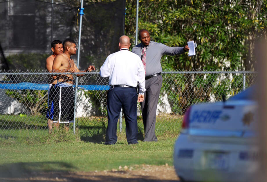 A mobile home resident shot and killed one of two gunmen who burst through the door about 4:30 a.m. Friday in the 23000 block of Botkins near Bauer in the Hockley area, said Harris County sheriff's deputy Thomas Gilliland. Photo: Gary Coronado / Houston Chronicle