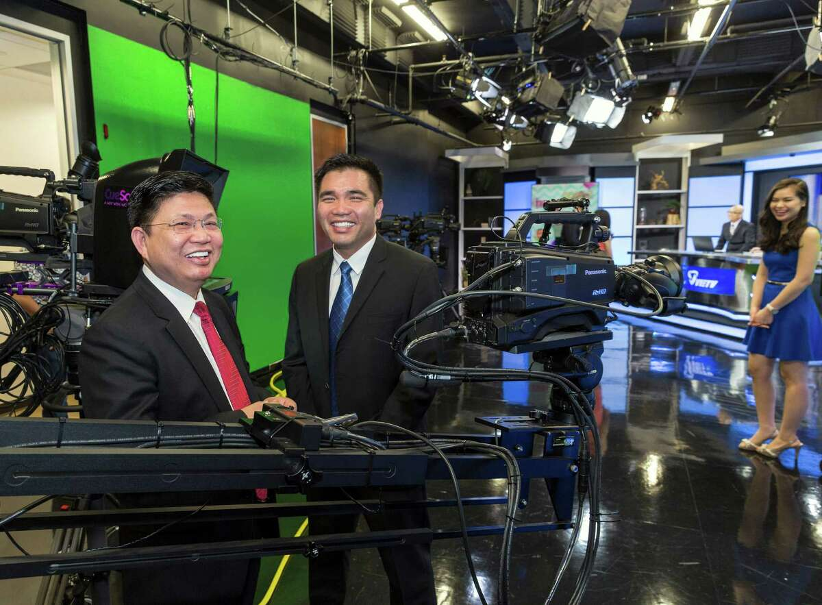 Robert Pham, left, is president of VIETV, and Kevin Ngo is founder and CEO of the free-to-watch channel. VIETV launched in Houston three years ago and has outlets in other U.S. cities. It produces a variety of daily programs.
