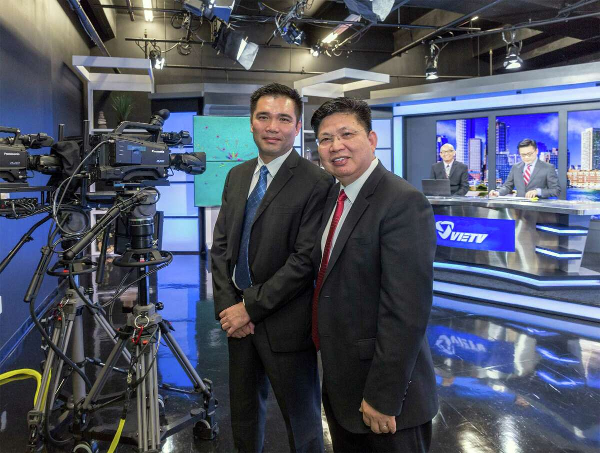 VIETV, 9999 Bellaire Blvd., Suite 1122, a Houston-based Vietnamese language TV station that broadcasts in 10 cities and soon will supply UNO, a Roku-like device specializing in Vietnamese programming. L-R ID: Kevin Ngo , founder, and Robert Pham, President of VIETV in the broadcast studio. Thursday September 25, 2014 (Craig H. Hartley/For the Chronicle)
