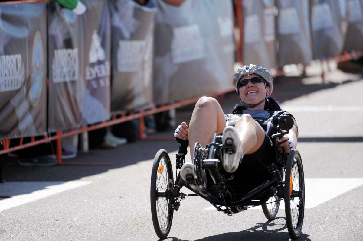 Air Force team's Maj. Jennifer Kyseth reacts to winning the women's recumbent cycle event during the 2014 Warrior Games at Fort Carson, Colo., Sept. 29, 2014. (DoD News photo by EJ Hersom)
