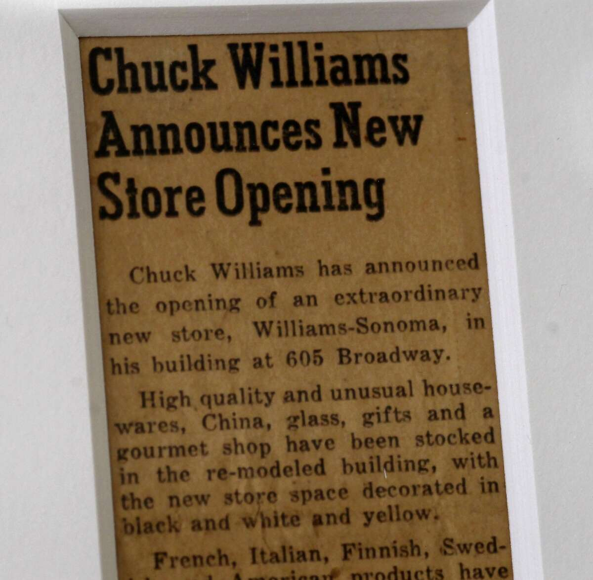 A newspaper clipping from 1956 about the original Sonoma, Calif. store is displayed in the new store. The Williams Sonoma new heritage store is opening at the site of the original shop in Sonoma, Calif. which opened in 1956.
