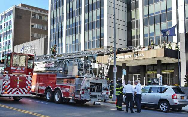 Albany firefighters respond to a fire call at  One Commerce Plaza Friday Oct. 3, 2014, in Albany, NY.  (John Carl D'Annibale / Times Union) Photo: John Carl D'Annibale / 00028872A