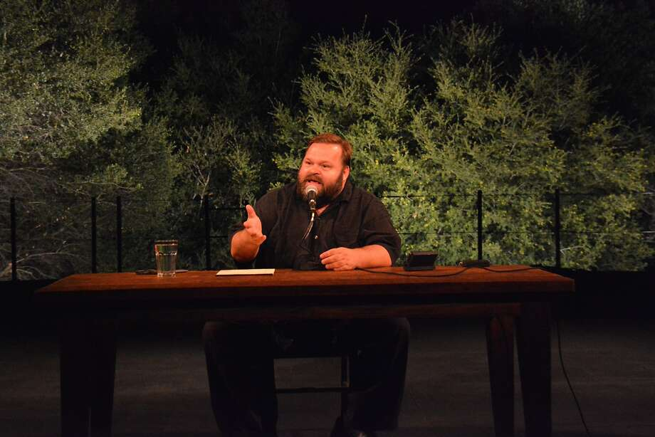 "Mike Daisey performing his new ""The Great Tragedies: "" at California Shakespeare Theater
