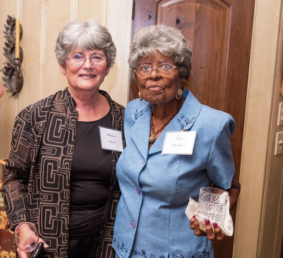 Former Fulshear Mayors Frances Smart, left, and Viola Randle were among the crowd at the kickoff party.
