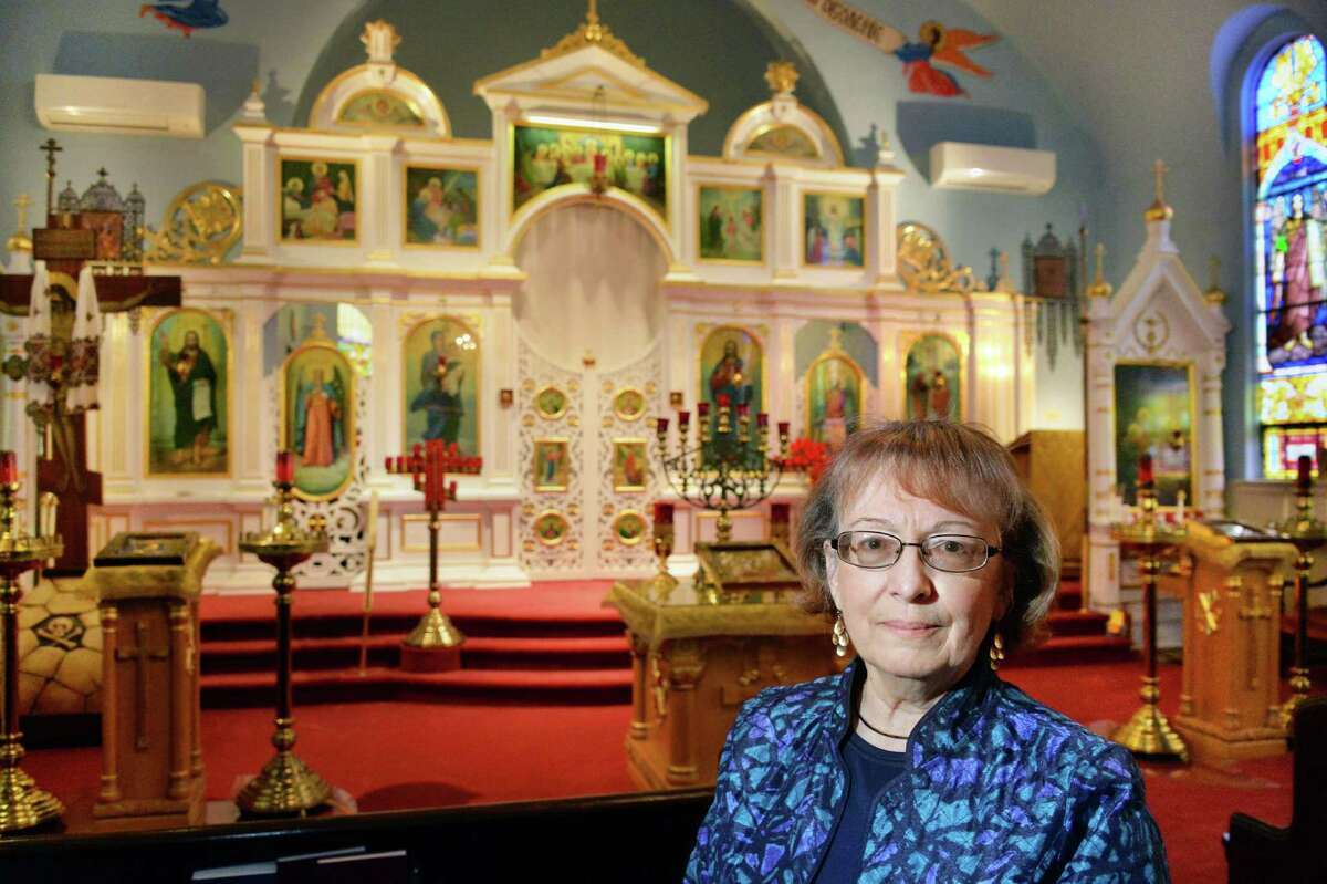 Life-long parisher Stephanie Stroyen of Stoughton, Mass. and Cohoes inside St. Nicholas Orthodox Church Thursday Oct. 2, 2014, in Cohoes, NY. (John Carl D'Annibale / Times Union)