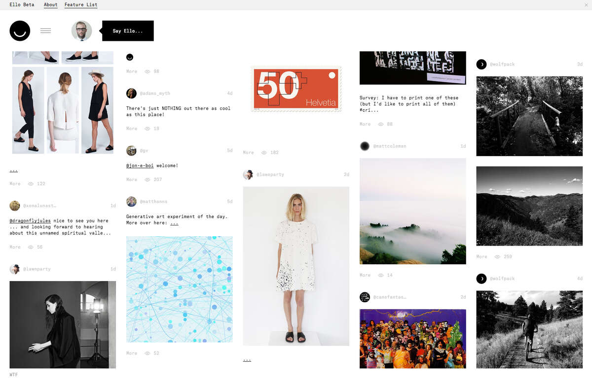 Ello's simple, ad-free design has been appealing to many of its earliest users.