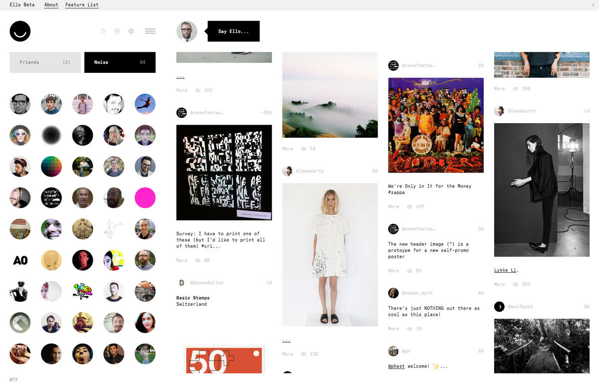 It may take some time for Facebook users to adjust to the look of an Ello newsfeed.