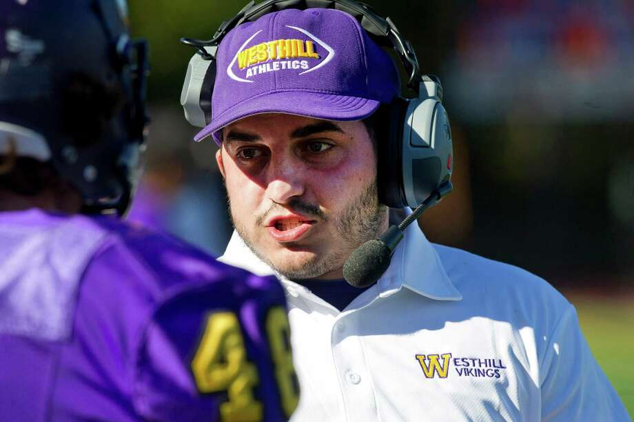 Joey Devellis, who was hired as Westhill's head coach on July 3, 2018, during his tenure as Westhill's defensive coordinator. Photo: Lindsay Perry / Stamford Advocate