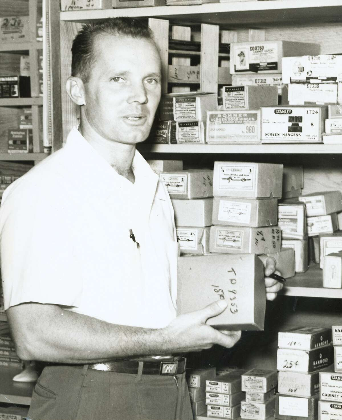 Chuck Williams at his shop in 1956.